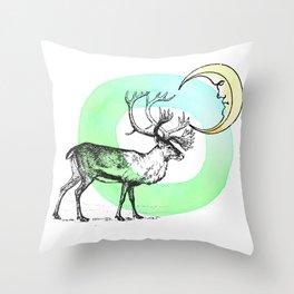 Reindeer Moon Throw Pillow