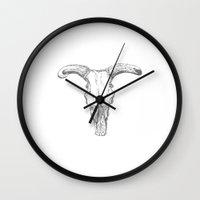 animal skull Wall Clocks featuring animal skull bull by Luminarium Graphics
