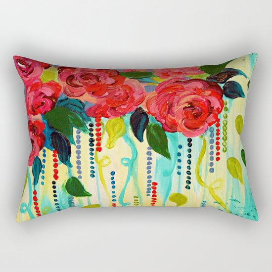 ROSE RAGE Stunning Summer Floral Abstract Flower Bouquet Feminine Pink Turquoise Lime Nature Art Rectangular Pillow