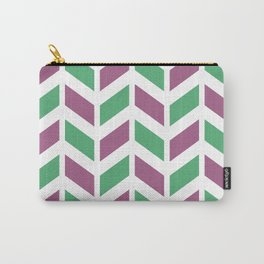 Dark pink, green and white chevron pattern Carry-All Pouch