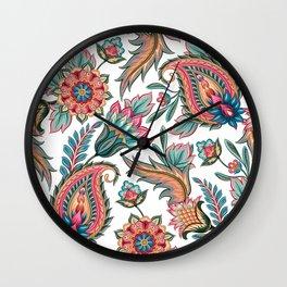 Boho Chic Paisley Floral Wall Clock