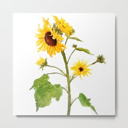 One sunflower watercolor arts Metal Print