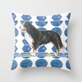 Bernese Mountain Dog Ski Fun Throw Pillow