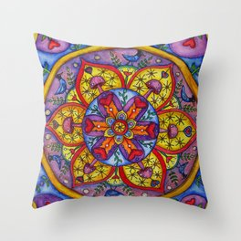 Stellar Shrooms by DeeDee Draz Throw Pillow
