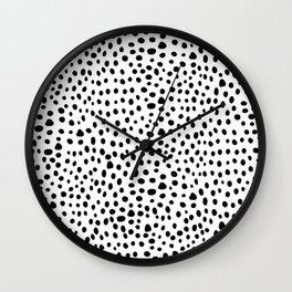 Modern Black and White Hand Drawn Polka Dots Wall Clock