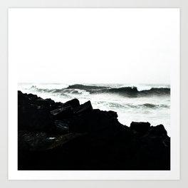 Modern black and white ocean rocks artistic Art Print