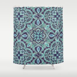 Chalkboard Floral Pattern in Teal & Navy Shower Curtain