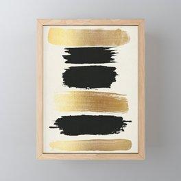 Brush Strokes (Black/Gold) Framed Mini Art Print