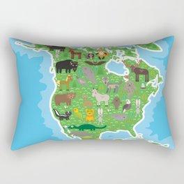 Map of North America with Animals bison bat manatee fox elk horse wolf partridge seal Polar bear Rectangular Pillow