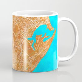 Durban, South Africa, Gold, Blue, City, Map Coffee Mug