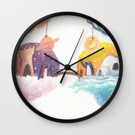 Penguins and their Bridge Between Sky Castle and Igloo with Ocean Wall Clock