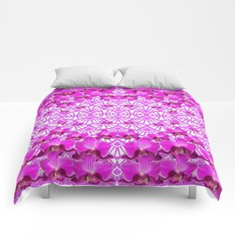 ABSTRACT PATTERNED PURPLE ART DECO  ORCHIDS Comforters