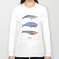 whales Long Sleeve T-shirts featuring Whales by Lene Daugaard