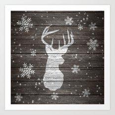 Snow painted deer antlers striped brown wood Art Print