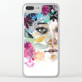 Blooming - colorful watercolor portrait Clear iPhone Case