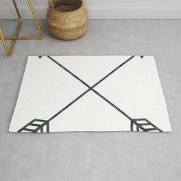 Black Arrows on White Paper Rug