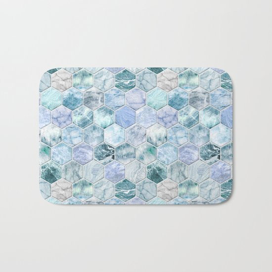 Ice Blue and Jade Stone and Marble Hexagon Tiles Bath Mat