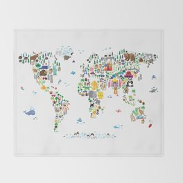 Animal Map of the World for children and kids Throw Blanket