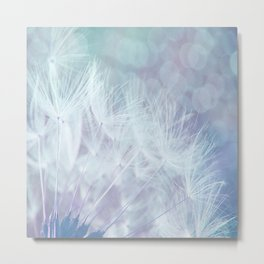 Whimsical Blue Dandelion Metal Print
