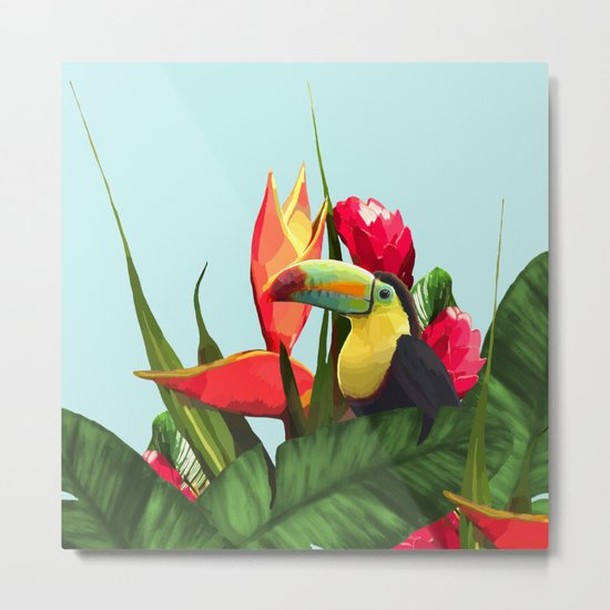 Toucan Tropical Banana Leaves Bouquet Metal Print
