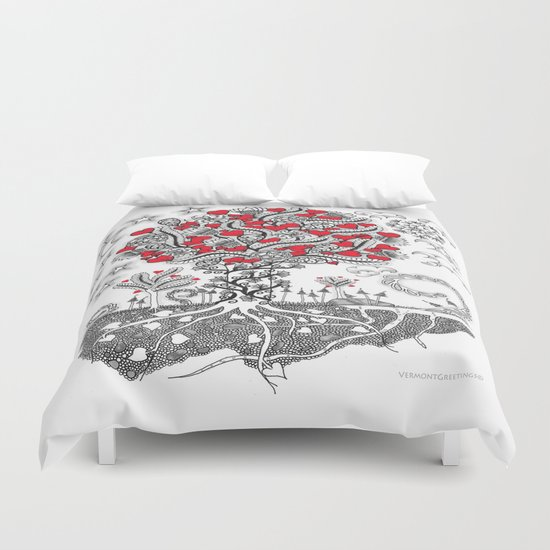 Zentangle Tree of Love - Illustration of Hearts and Love Duvet Cover