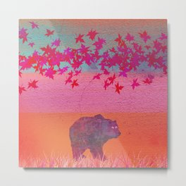 Little bear in the colorful field, leaf, colors, pink, blue, field, grass, bear Metal Print