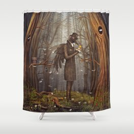Raven in forest Shower Curtain