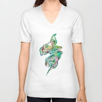 river V-neck T-shirts featuring River by Angie Pagan