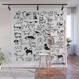 Black and White Dog Drawings | Cute Dog Breeds Pattern Wall Mural