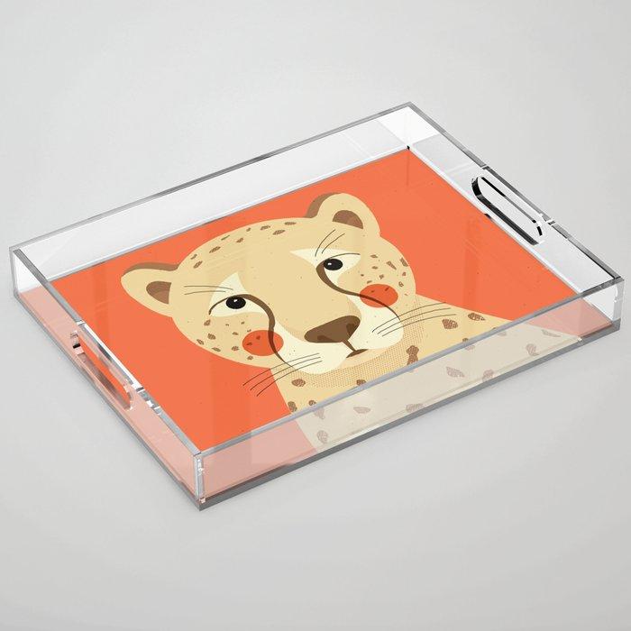 Cheetah, Animal Portrait Acrylic Tray