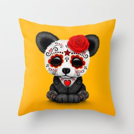 Red Day of the Dead Sugar Skull Panda Throw Pillow