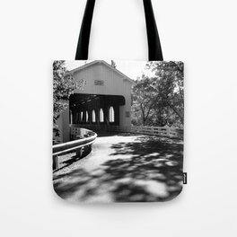 Covered Bridge in Black and White Tote Bag