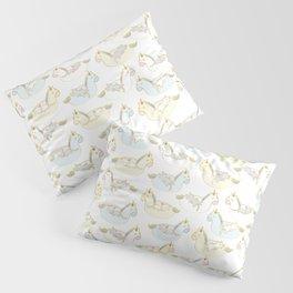 Sleepy lazy cats in unicorn floaties Pillow Sham