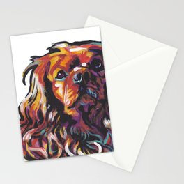 Ruby Cavalier King Charles Spaniel Dog Portrait Pop Art painting by Lea Stationery Cards