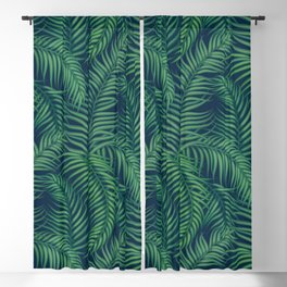 Night tropical palm leaves Blackout Curtain