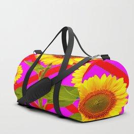YELLOW SUNFLOWERS RED-PURPLE LATTICE Duffle Bag