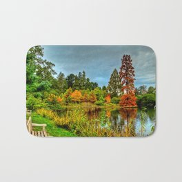 Autumn Colours Reflected in Pond Bath Mat