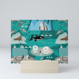 Arctic animals teal Mini Art Print