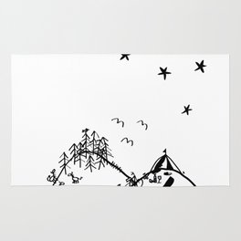 Camping in the Hills Rug