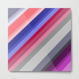 grey blue pink purple stripes Metal Print