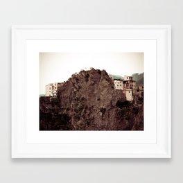 Houses on a Cliff. Framed Art Print