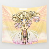 manga Wall Tapestries featuring Anime Manga Angel by Tazmaa's Anime & Illustration Studio