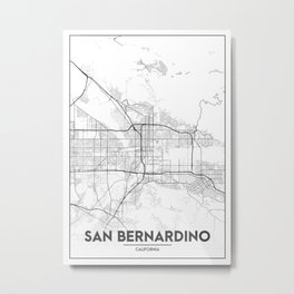 Minimal City Maps - Map Of San Bernardino, California, United States Metal Print