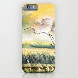 Egret Flying Over Marsh  iPhone Case