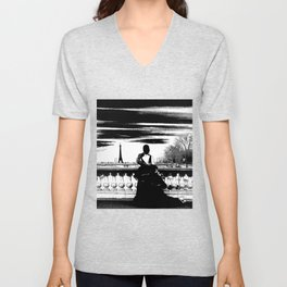 Marry me in Paris digital drawing Unisex V-Neck