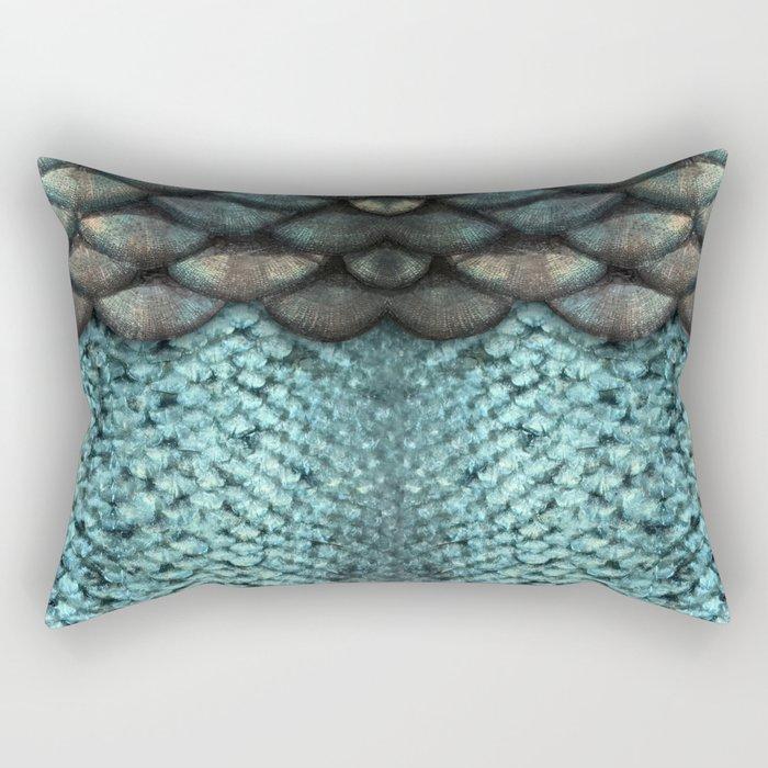 Mermaid Scales Dreamy Sea Blue Rectangular Pillow