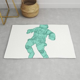 Astronaut Floating in Space Drawing Rug