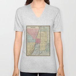 Vintage Map of Joilet IL (1876) Unisex V-Neck