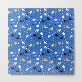 Fun ditsy print with night sky and constellations Metal Print
