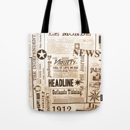 Vintage Newspaper Ads Black and White Typography Tote Bag